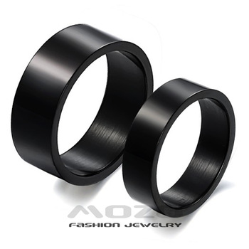Fashion Jewelry 316L Stainless Steel Rings Black Simple Classic Circle Drawing Couple Rings Wedding Rings Engagement Rings GJ333