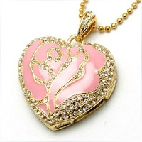 Rose heart usb flash drive crystal usb flash drive 32gb usb flash drive necklace usb flash drive gift ux063