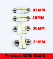 10pcs Led Interior Dome Festoon Reading Light 8  LED Bulb 31mm 36mm 42mm 39mm White 12V