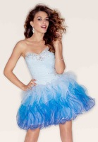 Light Purple Blue Hot Pink Cocktail Dresses Ball Gown Ruffle Short Prom Dresses Formal Evening Gown 2013 Free Shipping