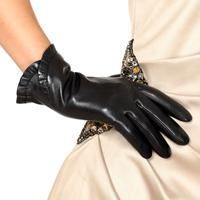 Genuine leather gloves women's thermal winter fashion sheepskin gloves women's l001 laciness short design