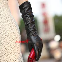 Leather gloves women's long design sheepskin fashion l012nq