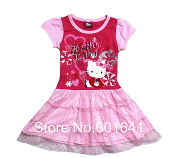 2013 summer New 5pcs/lot hello kitty Children's clothing baby girls clothes kids tutu dress girl dress with flower