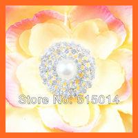 Free Shipping!100pcs  24mm Round  Rhinestone Cluster,Wedding  Embellishment ,Silver Plated ,Rhinestone brooch With loop back