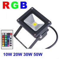 AC85-265V 10W 20W 30W 50W LED Flood Light CW/WW/RGB Floodlight outdoor IP65 LED street Lamp black shell