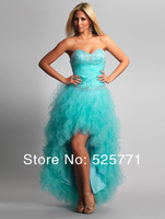 New Hot style Hi-Lo Organza Prom Dresses Sweetheart Beaded High Quality Party Gown Custom Size