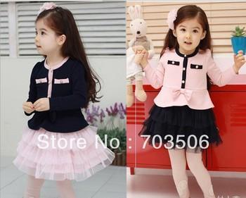 Baby Girl Lovely tutu Dress long sleeve fashion dresses baby autumn clothing discount free shipping