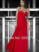 New Hot style Floor length Red Chiffon Prom Dresses Sweetheart Beaded High Quality Party Bridesmaid Gown Custom Size