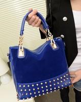 Free Shippinig New Arrival Handbag Vintage Scrub Rivet Purses and Handbags,Black and Blue Color Free Shipping Shoulder Bag