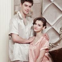 American standard sleepwear summer silk mulberry silk lovers set lounge 420123b 420124b