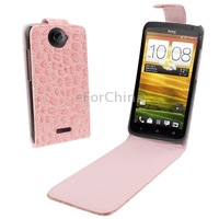 Black, Pink, Red and White Color Good Protection Crocodile Texture Vertical Flip Holster Leather Case for HTC One X/ Edge/ S720e