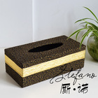 Free shipping fashion quality black leather gold stripe bordered leather tissue box classic home accessories(China (Mainland))