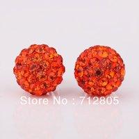 Wholesale 20pcs Orange Shamballa Beads 12mm Clay Shambala Beads Pave Rhinestone Disco Balls Beads Loose Beads Free Shipping