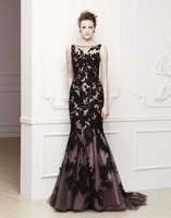Black evening dress is made of yarn.a