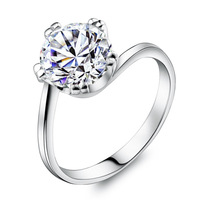 Fashion cubic zircon bright 925 pure silver ring women's