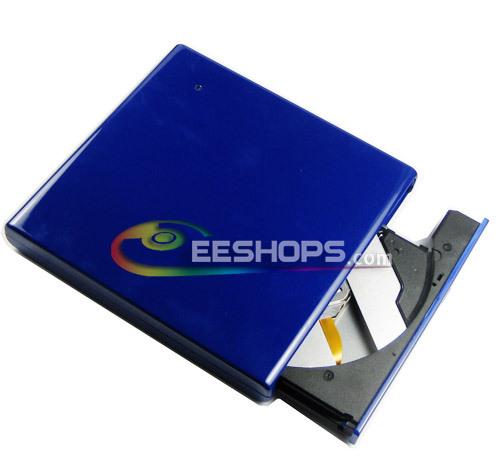 Wholesale Brand New 8X DVD RW RAM DL Burner 24X CD RW Writer Tray-Loading USB 2.0 External Slim Drive Blue Free Shipping(Hong Kong)