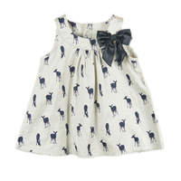 2013 summer bow girls dress sleeveless deer dresses 100% cotton children clothing Wholesale and retail