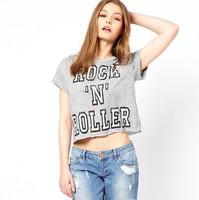 crop top for women fashion 2014 letter print top cotton sexy t shirt O neck grey  midriff plus size tee  freeshipping