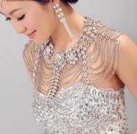 Free Shipping Wedding Accessories Necklace Ride Wedding Luxury Necklace Rhinestone Shoulder Strap Crystal Jewelry Sets