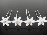 Free shipping 10Pcs New Wedding Bridal White Flower Crystal Hair Pins