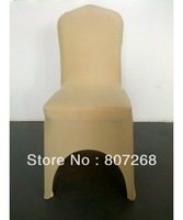 DISCOUNT PRICE +Top quality  Champagne   spandex chair cover with arc  in th front