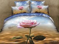 new arrivals ocean blue unique rose flower floral printed bedding set 4pcs home textile bed sheets full/queen quilt duvet covers