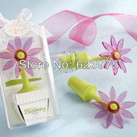 Miniascape Design Blooming  Daisy Flower Bottle Stopper Wedding Favors (Set of 12)