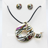 Rose Gold Multi-color Twill Design Enamel Jewelry Set,(Necklace,Earrings,Ring),1set/pack