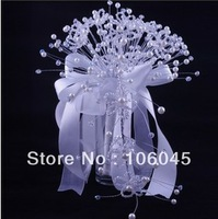 HK Post Free shipping 2013 acrylic crystal girl flower wedding bouquet bridal faux pearl white teardrop bead artificial bouquets