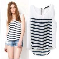 2014 summer new in Europe style za splice color Horizontal stripes back zipper sleeveless chiffon women blouse t shirt vest