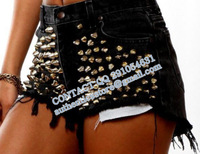 PUNK New Fashion 2013 women SPIKED STUDDED FESTIVAL HIGH WAISTED SHORTS VINTAGE  bo58