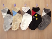 Male child baby boy plaid fashion sock socks kid's socks 10 3 double