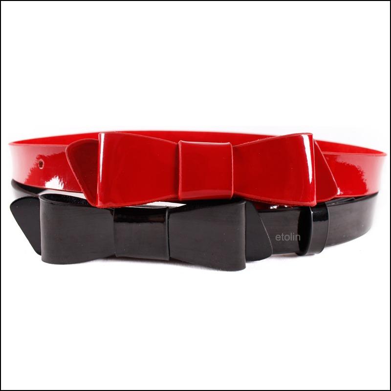 popular black patent leather bow belt aliexpress