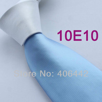 Coachella Men's ties White Knot Contrast Blue Tie Two Tone Woven Necktie Formal Neck tie for men dress shirts Wedding