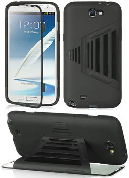 Black TPU Gel Folio Full Protect  Case Cover For Samsung Galaxy Note 2 II N7100+Film