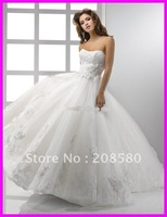 2012 new designers' ball gown tulle custom-made bridal wedding gowns dresses lace W619zarabridal