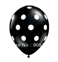 free shipping polka dot balloons 12 inch natural latex balloon black 100pcs