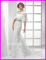 2012 high neck A-line lace up back bridal wedding gowns dresses appliques bolero W613zarabridal