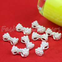 20pcs/pack 3D White Alloy Faux Pearl Rhinestones Bow Tie Nail Art Decoration 13mm*6mm