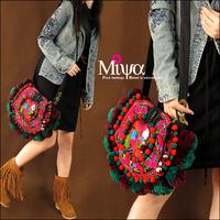 Cute Round Shape Embroidery Shoulder Bags Original Design Pom Women Messenger Bag Small Ladies Purse