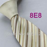 Coachella Men's ties Beige Knot Contrast Beige With Brown Stripes Normal Woven Necktie Formal Neck tie for dress shirts Wedding