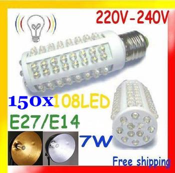 FedEX Free shipping 150 pcs Ultra bright LED bulb 7W E27/E14 220-240V Warm/Cold white light LED corn bulb with 108 led LED lamp