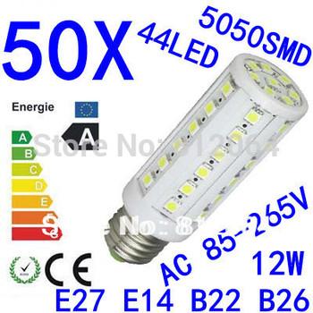 50X High power E27 E14 B22 E26 5050SMD  44LED  12W light 85-265V Energy Saving Corn Light Lamp Bulb