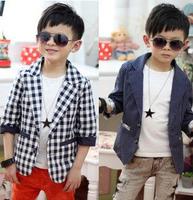 Free shipping 2013 clothing Polka Dot sleeve plaid wave point jacket children suit boy plaid coat blazers formal dress fashion