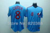MLB Montreal Expos #8 Gary Carter Blue Jersey Throwback Heritage Button Style Baseball Jerseys New Season Authentic Jersey