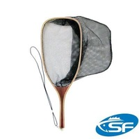 SF Wooden Fly Fishing Trout Landing Net with Mesh Bag Stream Side Catch and Release