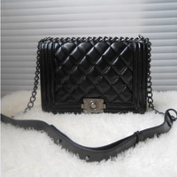 Vintage small bag plaid chain bag le boy one shoulder cross-body women's cowhide handbag
