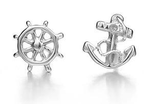 Free shipping 2013 new arrival fashion navy anchor 925 silver platinum plated female stud earrings jewelry wholesale 1pair/lot(China (Mainland))