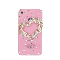 New Hot Fashion Shiny Cute 3D Crystal hearts Case Cover for iPhone4s case for iphone5 wholesale
