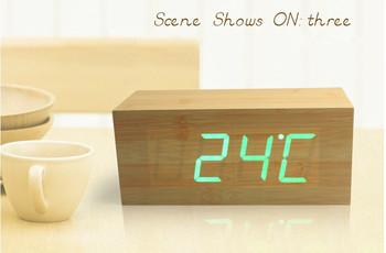 Fashion LED Wooden Clock RectangleDigital Wood Alarm Clock Desktop Modern Office GREEN LED LIGHT